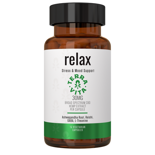 TerraVita Relax CBD Capsules. 30mg of broad spectrum cbd per capsule with ashwagandha root, GABA, reishi mushroom extract and L-theanine for stress and anxiety relief. 15 CBD capsules per bottle.