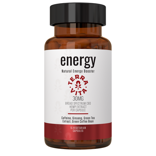 TerraVita CBD Energy capsules: Increase Energy, Boosts Cognitive Function and Enhanced Physical Performance. 30MG Broad Spectrum CBD Per Capsule - 15 Count THC FREE with caffeine, ginseng, taurine and green tea extract.