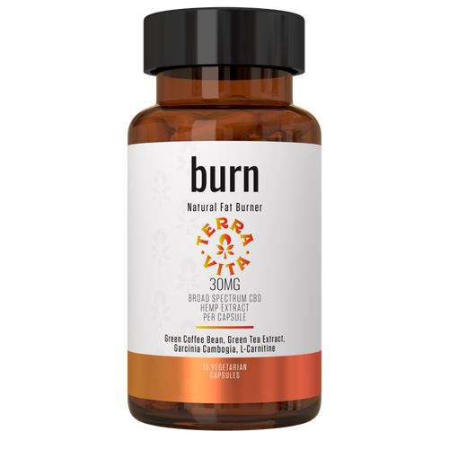 TerraVita CBD Burn capsules: All natural fat burner CBD capsules to help lose weight. 30mg thc-free broad spectrum CBD per capsule with green coffee bean, green tea, garcinia cambogia, l-carnitine. Amber bottle with white and orange label and black lid - 15 count.