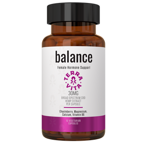 TerraVita CBD Balance: CBD capsules for female pms support. 30mg THC-Free broad spectrum CBD with chasteberry, magnesium, Calcium, B6. 15 capsules per bottle.