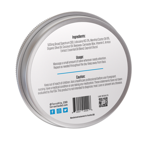 TerraVita Cooling Salve CBD Pain Cream back label with ingredients, usage and QR code for lab results.