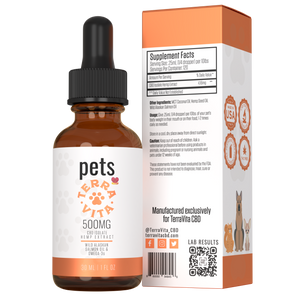 TerraVita CBD for pets. 500mg CBD isolate with wild alaskan salmon oil & omega 3's for heart and coat health.