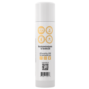TerraVita CBD Hydrating Lip Balm side of label with QR code for lab results.