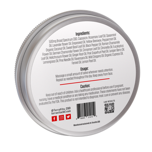 TerraVita warming cbd salve for pain with 500mg of broad spectrum cbd and capsaicin. back of label showing ingredients and directions for use.