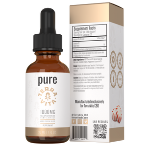 TerraVita CBD pure full spectrum CBD oil with 1000mg of CBD in peppermint flavor.