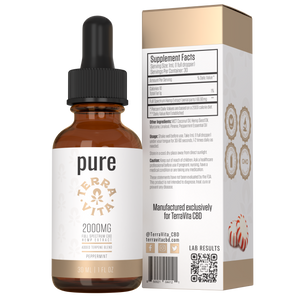 TerraVita CBD pure full spectrum CBD oil with 2000mg of CBD in peppermint flavor.