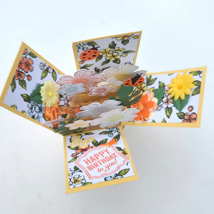 Pop Up Birthday Card-Orange/Yellow Flowers