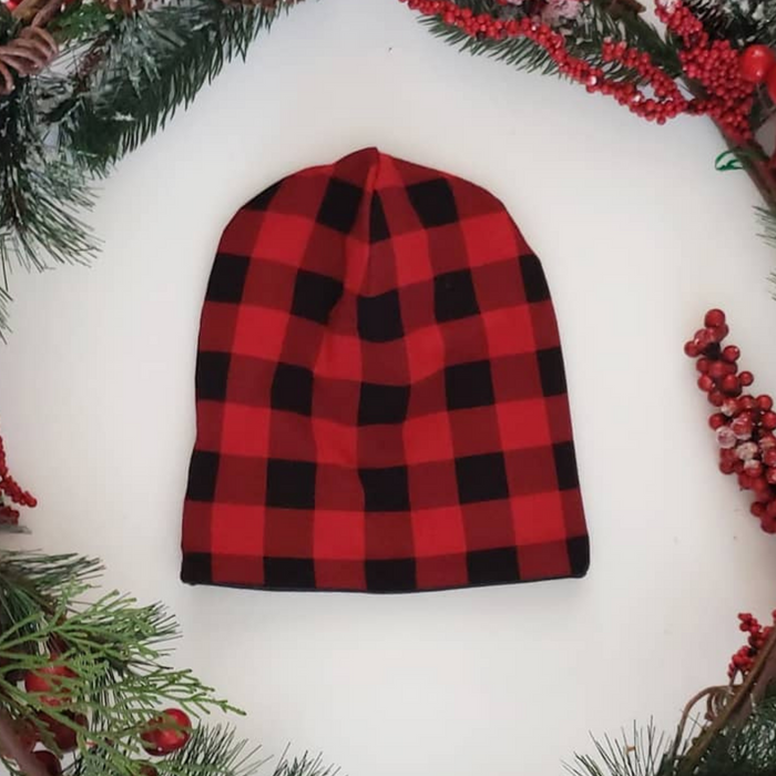 Red Plaid Beanie