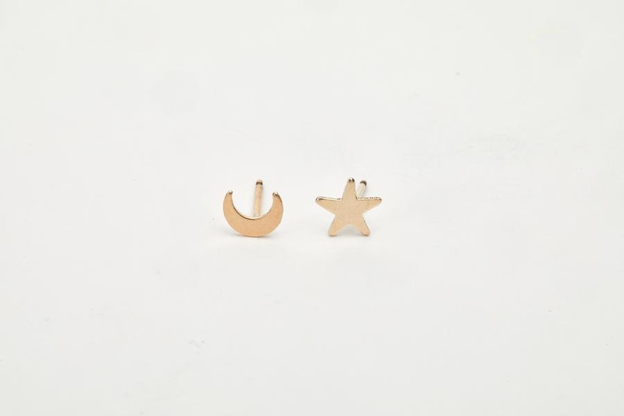 Moon & Star Studs - Sterling Silver