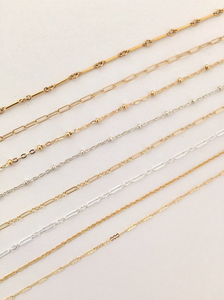 Delicate Crinkled Link Chain - Gold