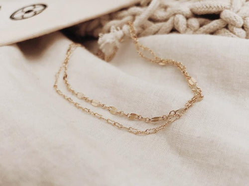 Layered Delicate Anklet - Gold