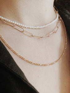 Long Figaro Chain Necklace - Gold