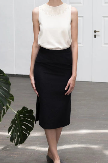Side cut pencil skirt