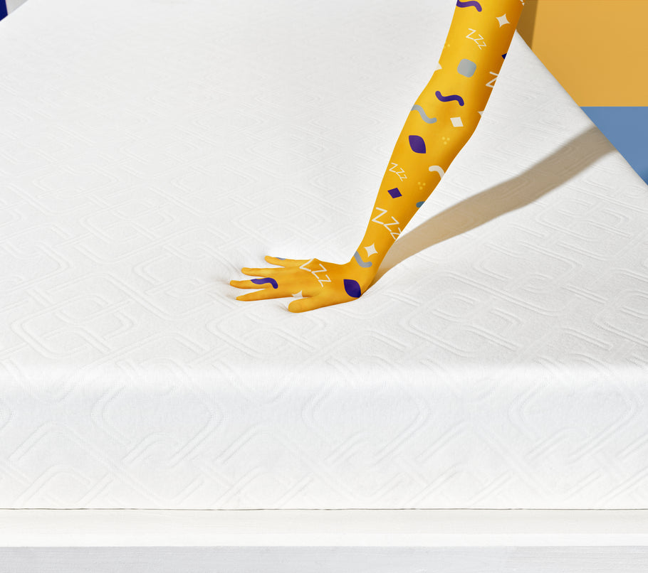 Foam - Hand pressing on firm foam mattress - Simmons Sleep