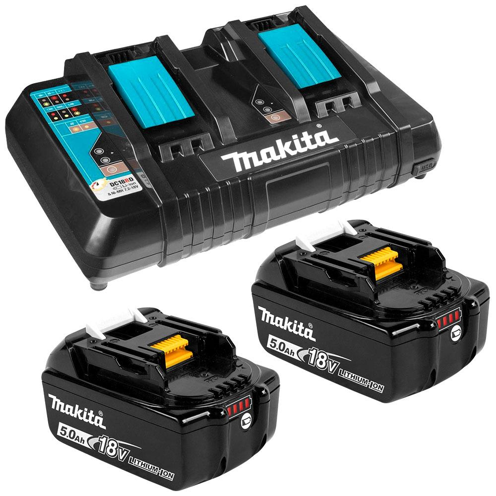 Charger Rapid Dual Port & 2 X 18V 5.0Ah Battery