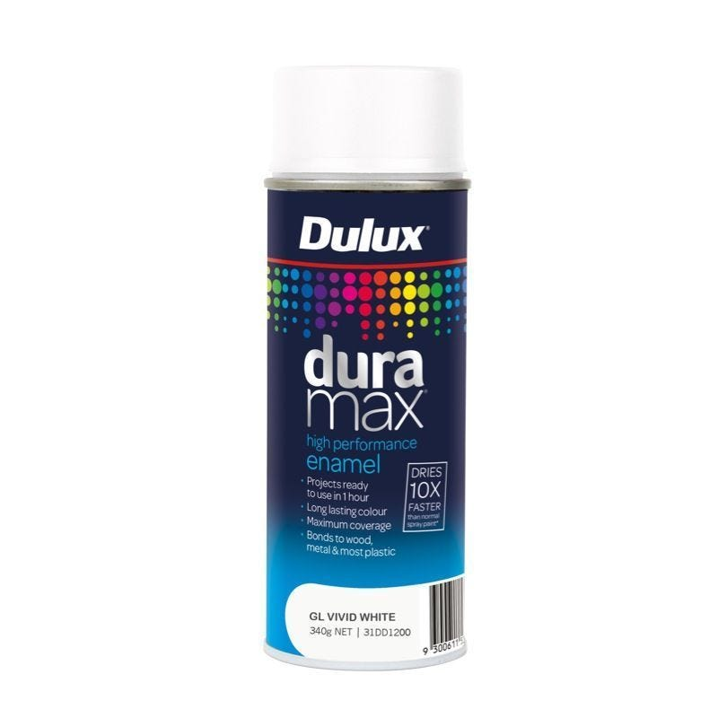 Dulux Duramax Spray Paint Gloss White 340G