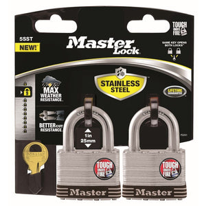 Padlock Stainless Steel Keyed Alike 51mm Pk2