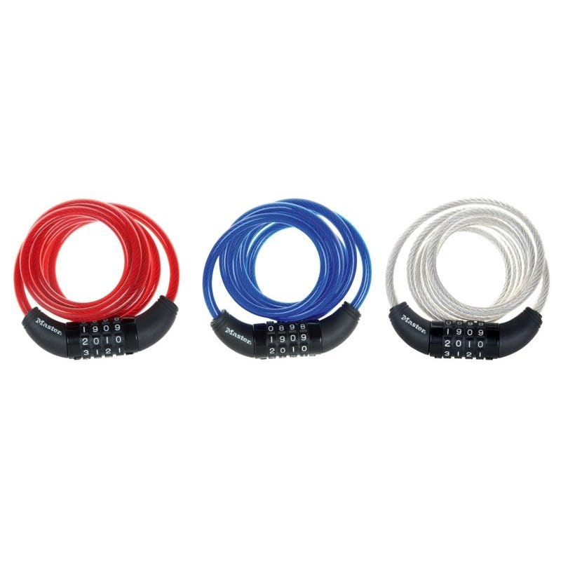 Master Lock Cable Combination Lock Assorted Colour Pk1