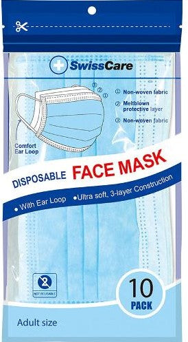 FACE MASK DISPOSABLE 3 LAYER WITH EARLOOP PK10