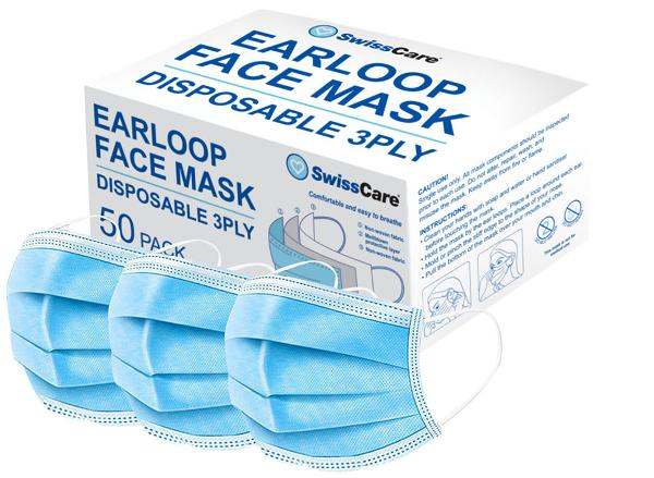 FACE MASK DISPOSABLE 3 LAYER WITH EARLOOP PK50