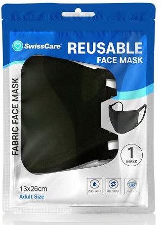 FACE MASK FABRIC REUSABLE 2 LAYER WASHABLE BLACK PK1