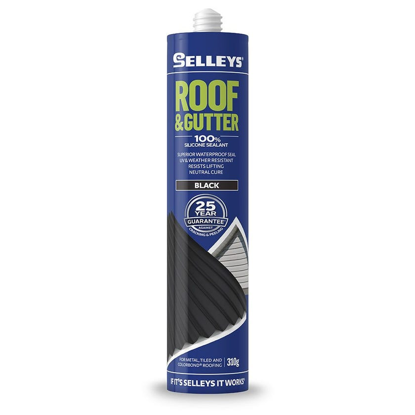 Selleys Sealant Silicone Roof & Gutter Black 310G