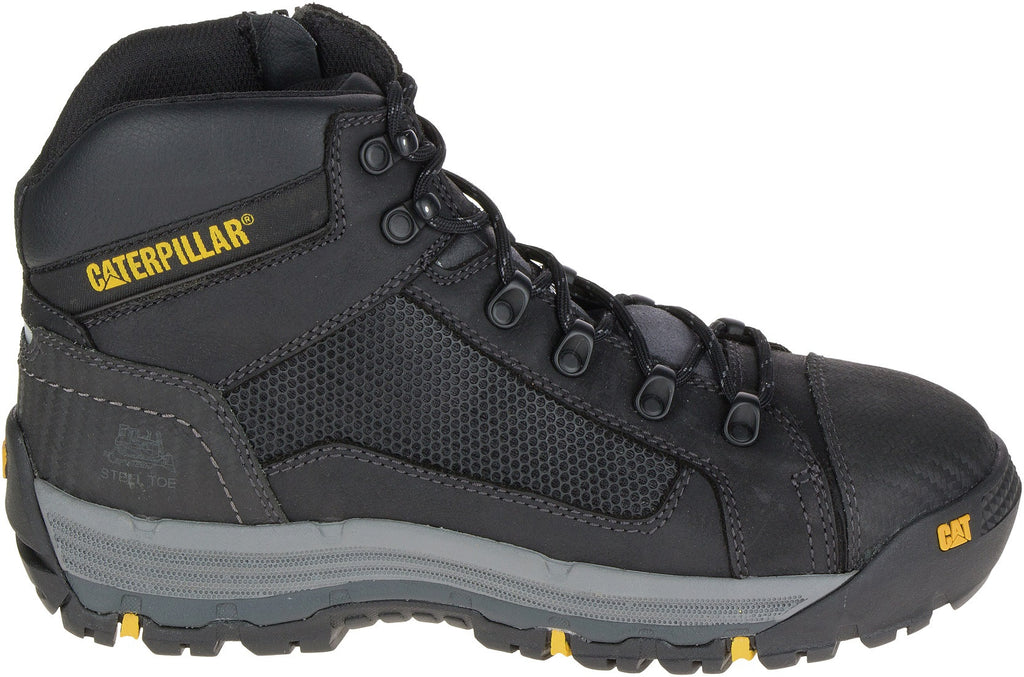 Boot Safety Cat Convex Mid Zip Side Black (US Sizes)