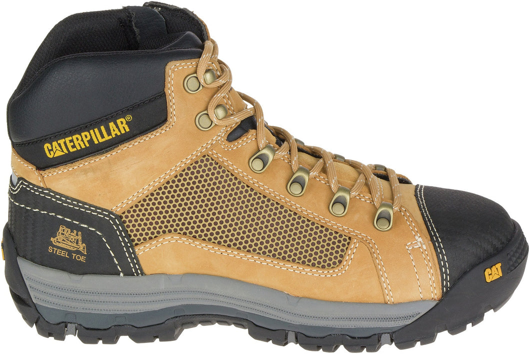 Boot Safety Cat Convex Mid Zip Side Honey Us #12