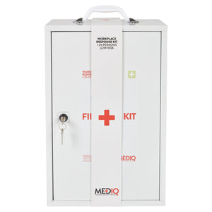 Mediq Essential First Aid Kit Workplace Response In White Metal Wall Cabinet Low Risk 1-25 Perons