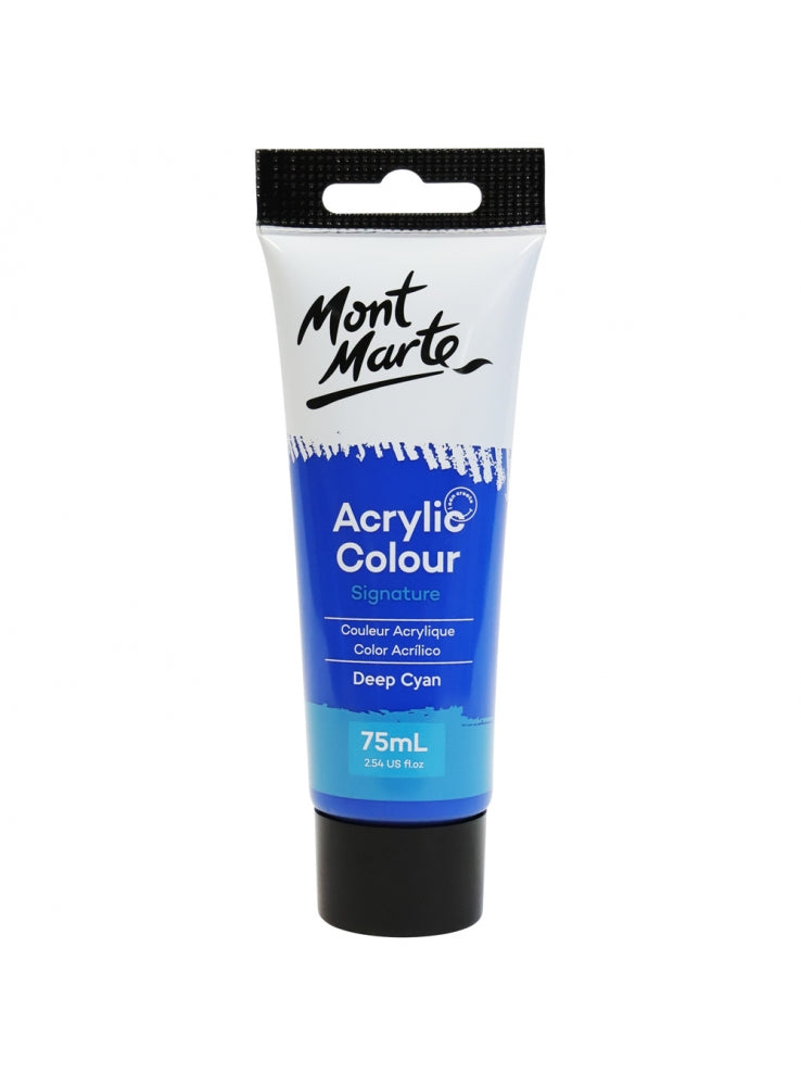 Mont Marte Acrylic Colour Paint Deep Cyan Blue 75ml