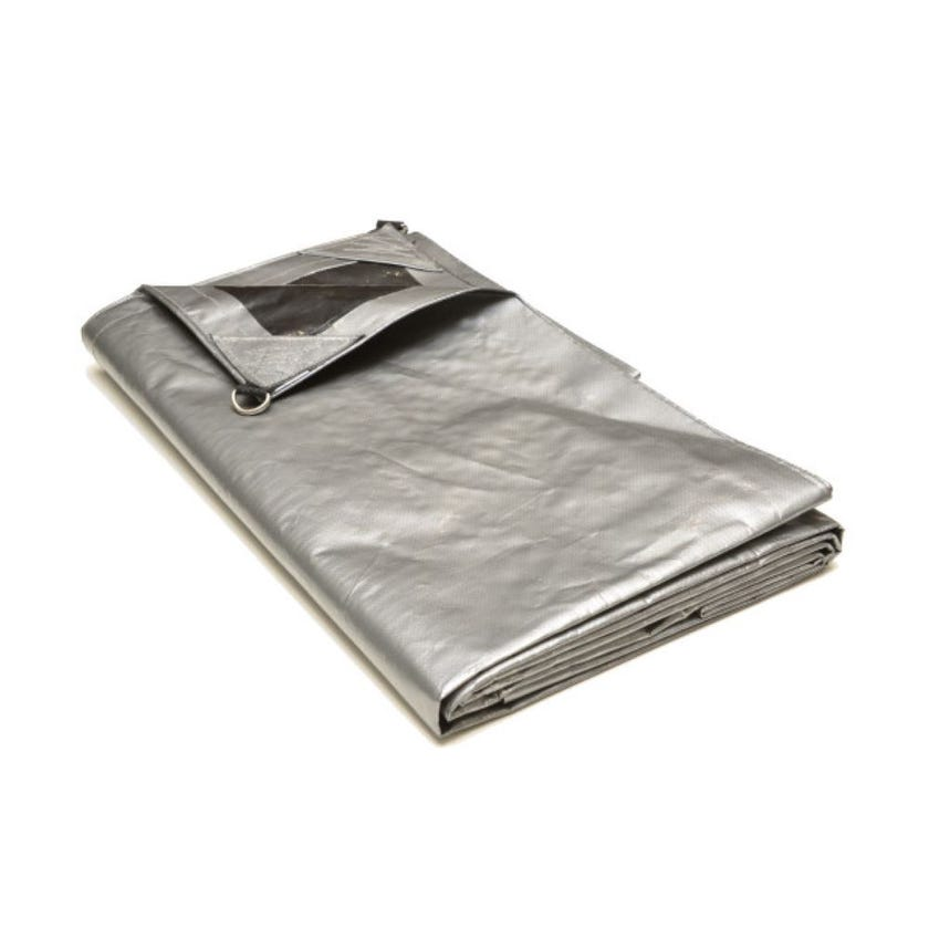 Tarp Extra Heavy Duty Silver/Black D Ring 3.7m x 4.9m