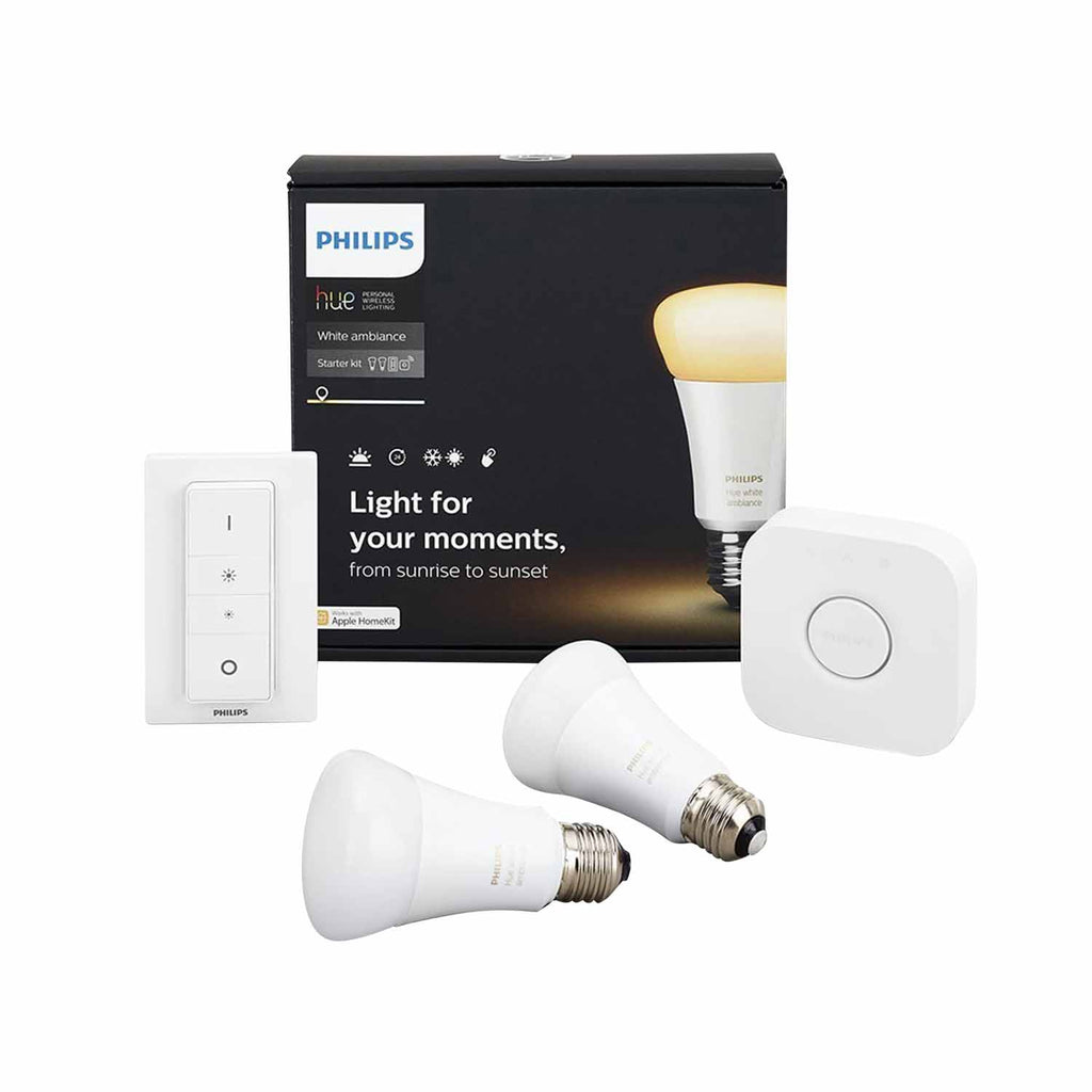 Starter Kit Philips Hue 2 X White Es Lamps W/Bridge & Dimmer