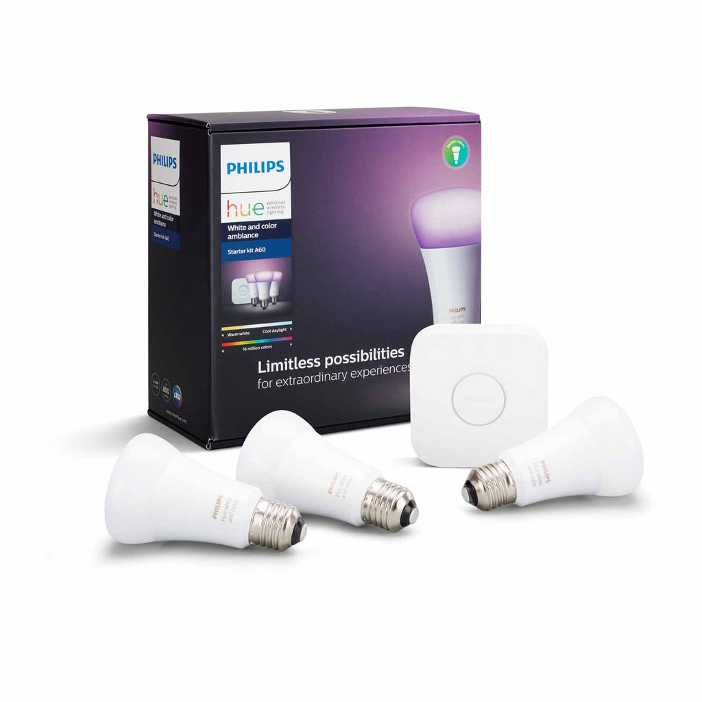 Starter Kit Philips Hue 3 X Coloured Es Lamps With Bridge