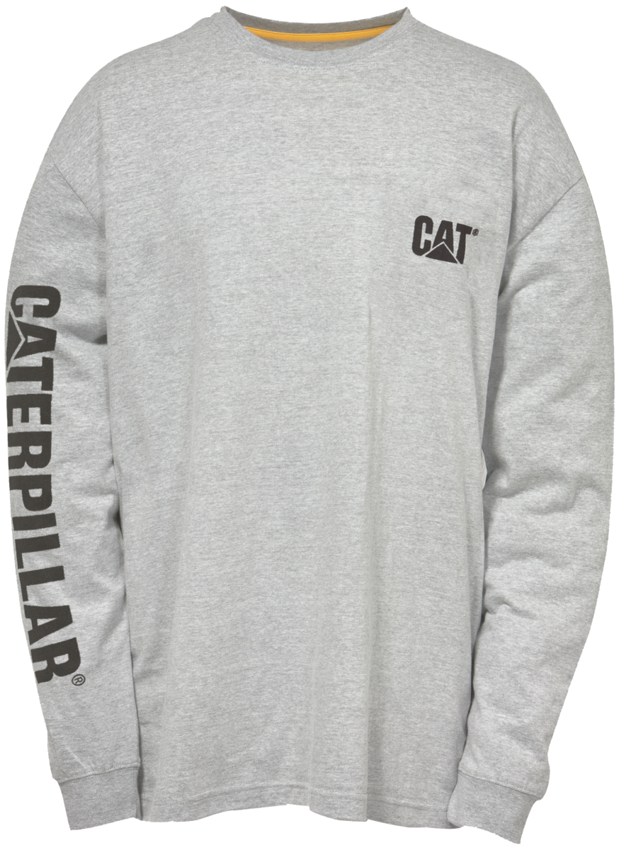 T-Shirt Cat Long Sleeve Trademark Banner Grey Med