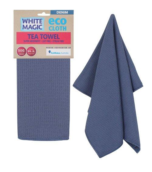 Cloth Tea Towel White Magic Eco Denim Pk1