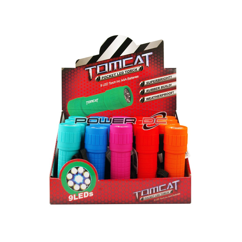 Tomcat Torch Led Rubber 9Led Assorted Colours