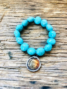 Turquoise Beaded Stretch Bracelet With Soldered Coin