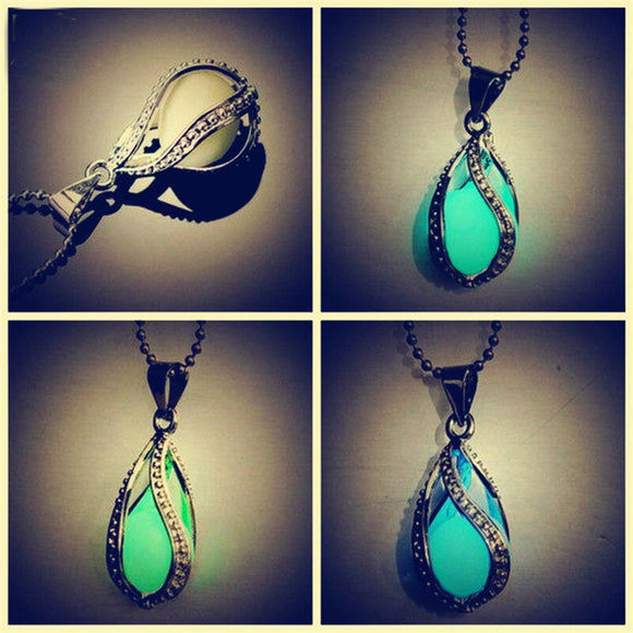 NEW Xmas Gift For Her Green Glow In The Dark Silver Necklace Pendant Chain Women