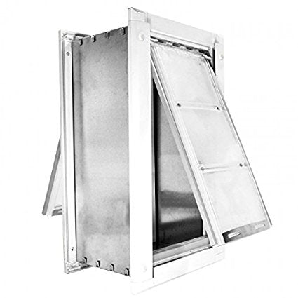 An Endura pet door with a white frame and two clear flaps