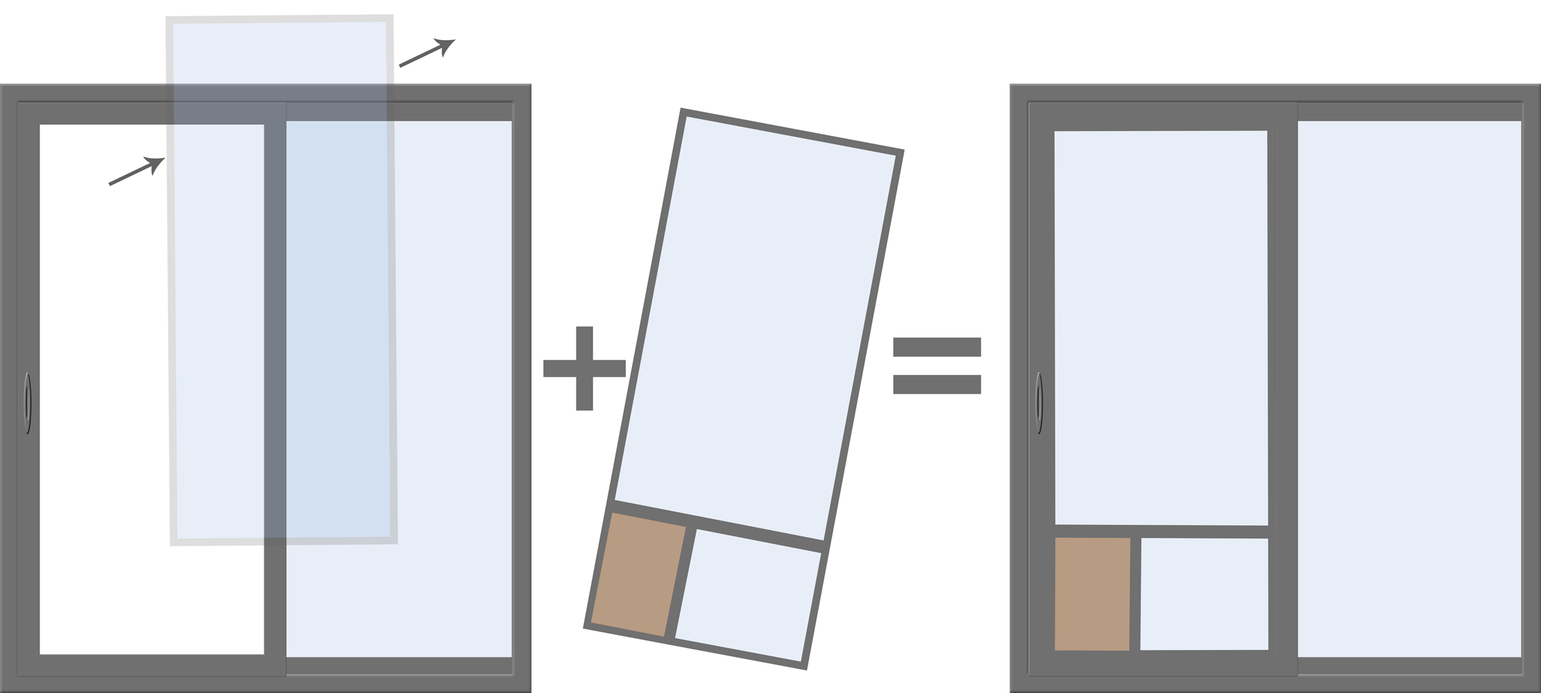 replacing your sliding glass door glass with another piece of glass with a pet door installed