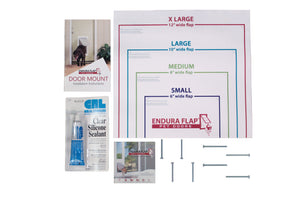 "double flap door mount kit comes with four 2 1/4"" screws, four 2-3/4"" screws, cutout template, instructions, and tube of silicone"