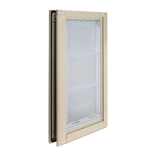 Angle view of the single Endura Flap pet door for doors.