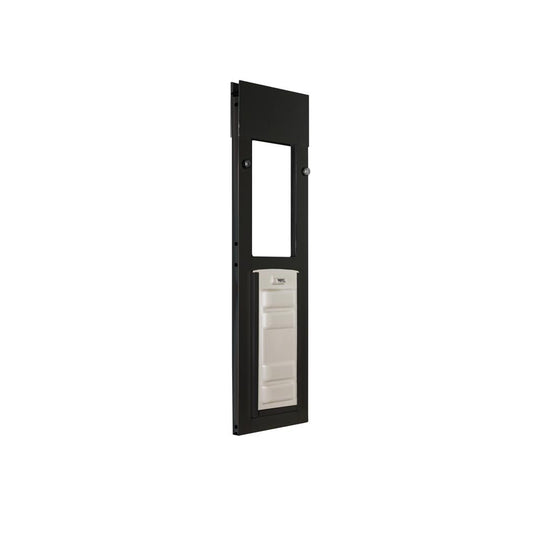bronze horizontal sliding window cat door with locking cover on to keep critters out