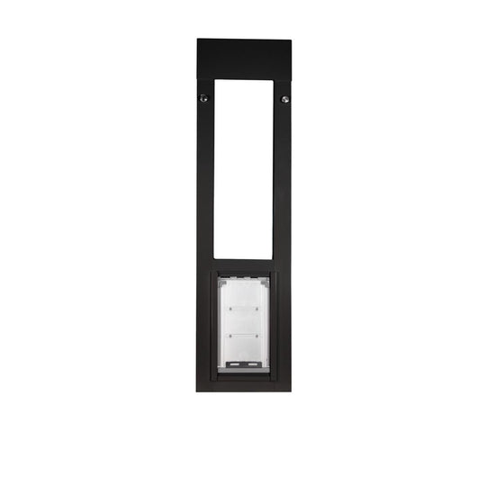 spring loaded horizontal window locks pet door in place to secure your home
