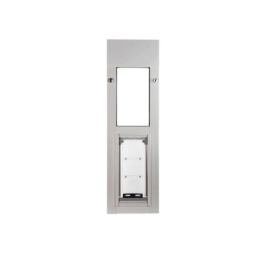 endura flap pet door for cats in sliding windows in brushed aluminum