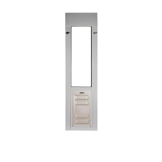 brushed aluminum sliding window cat door with locking cover made of ABS Plastic