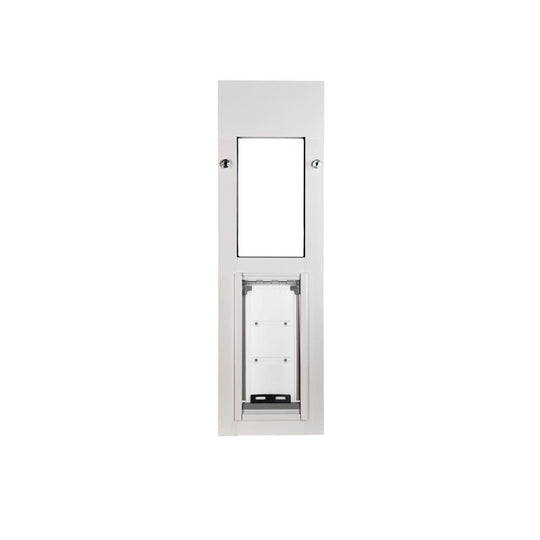 endura flap cat door with white frame for horizontal sliding windows