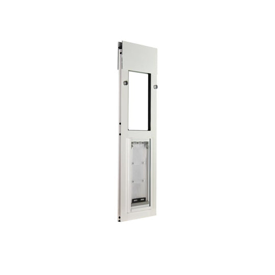 white endura flap pet door for horizontal sliding windows with tension fit for security