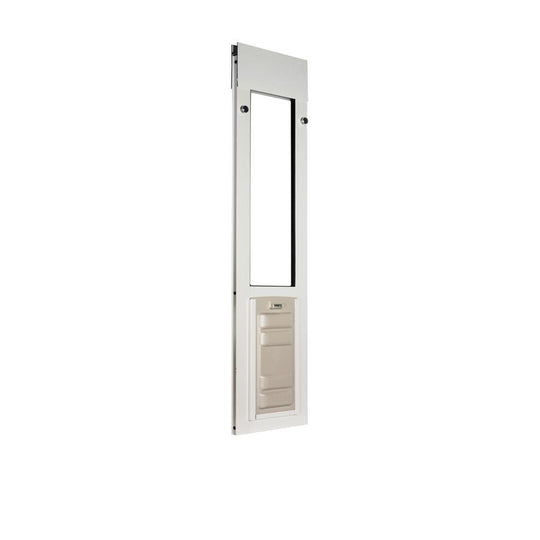 white horizontal window locks into the frame and can be further secured with a pin lock or clamp lock