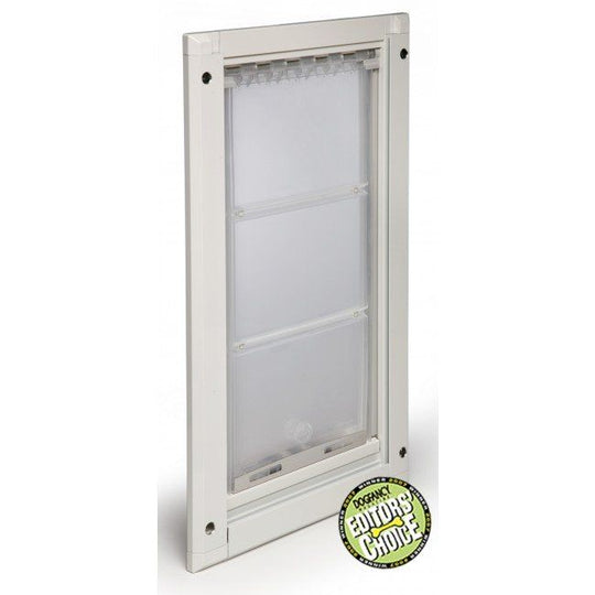 white angled view endura flap pet door - with dog fancy editor's choice award